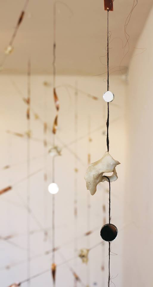 Installation Detail: Porcelain bone, hair, mirror & copper.